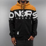 DNGRS Mikina Big Logo Zip Čierno Oranžová